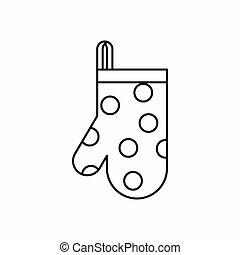 rękawiczka, styl, ikona, szkic, kuchnia