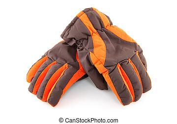 rękawiczki, barwny, para, narta