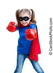 rękawiczki, dziewczyna, boks, superhero, koźlę