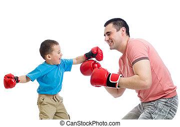 rękawiczki, gra, boks, ojciec, koźlę