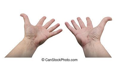 ręki dojeżdżające, -, odizolowany, poza