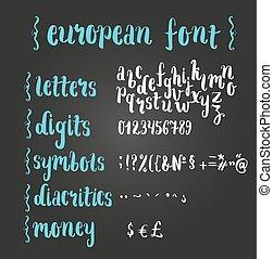 rękopis, alphabet., szczotka, europejczyk