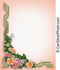 růže, a, břečťan, hraničit, pozvání