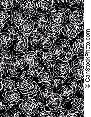 růže, květ, skica, kytice, seamless, model