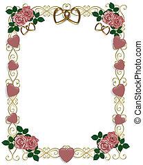 růže, svatba, nebo, strana, pozvání
