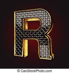 *r*, שחור, מכתב, זהב