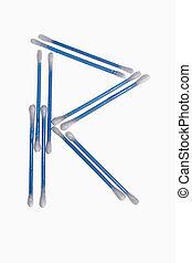 r, アルファベット, の, コットン綿棒
