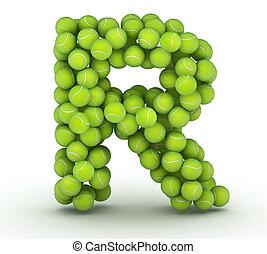r, アルファベット, テニス, 手紙, ボール