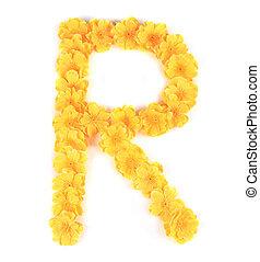 r, alphabet., fiore, lettera
