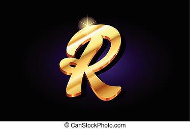 r alphabet letter golden 3d logo icon design