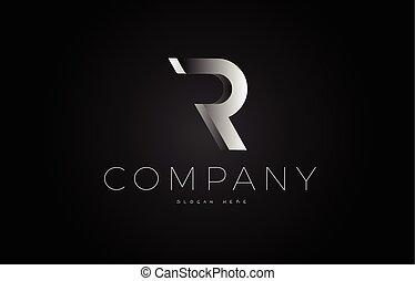 R black white silver letter logo design icon alphabet 3d