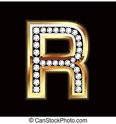 r, bling, lettera