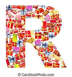 r, brief, -, alphabet, gemacht, von, giftboxes