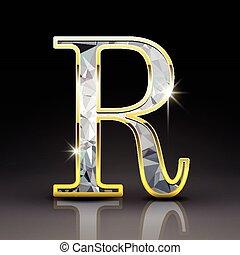 r, diamant, 3d, lettre, magnifique