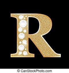 r, diamant, lettre, or