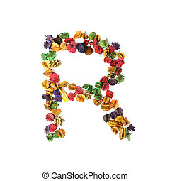 R, Dried flower alphabet isolated on white background