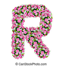 R, flower alphabet isolated on white with clipping path