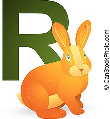 R for Rabbit - Rabbit for letter R in children ABC