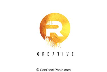 R Gold Letter Logo Design with Round Circular Golden Texture.