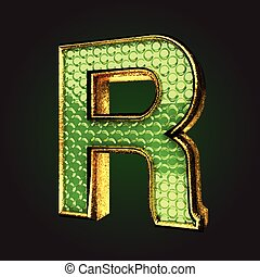 r green letter with gold