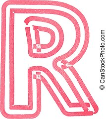 r, letra, capital, desenho marcador, vermelho