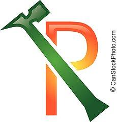r, letra, reparar, logotipo
