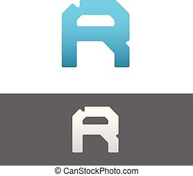 R Letter Alphabet Abstract vector text logo