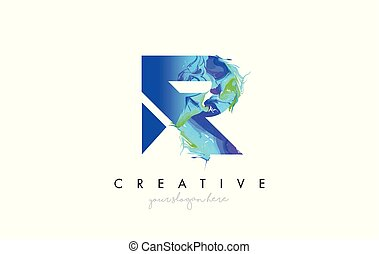 R Letter Icon Design Logo With Creative Artistic Ink Painting Flow in Blue Green Colors