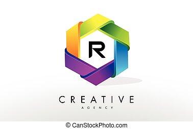 R Letter Logo. Corporate Hexagon Design