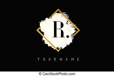 R Letter Logo Design with White Stroke and Golden Frame.