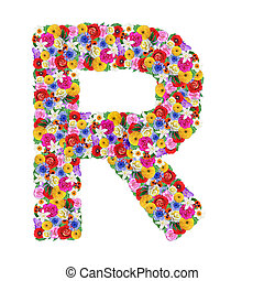R, letter of the alphabet in different flowers