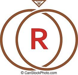 R Letter Ring Diamond Logo