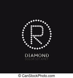 R letter with diamonds