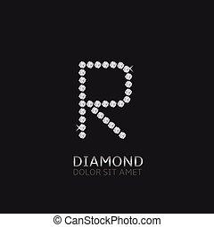 r, lettre, gemstones