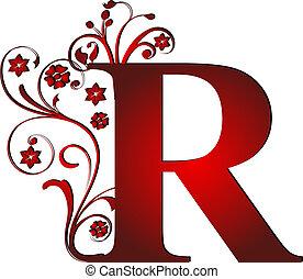 r, lettre, rouges, capital
