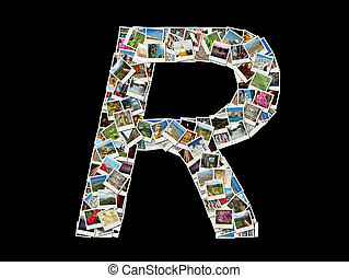 """R"" litera -collage of travel photo"