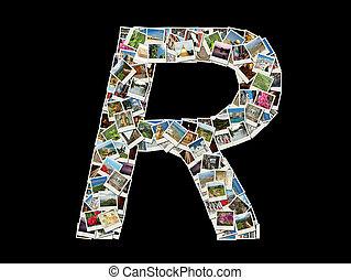"""""""r"""", litera, -collage, van, reizen, foto"""
