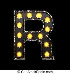 r, metal, carta, con, lights., 3d, ilustración