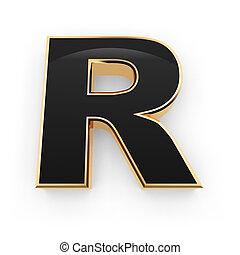 r, metal, letra