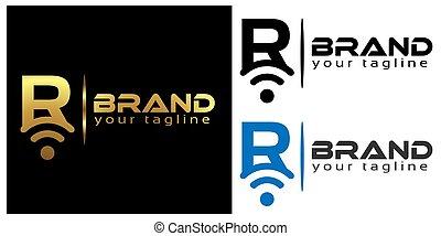 R online logo template, stock logo template.