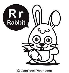 R Rabbit cartoon and alphabet for children to learning and coloring page vector illustration eps10
