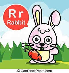 R Rabbit color cartoon and alphabet for children to learning vector illustration eps10