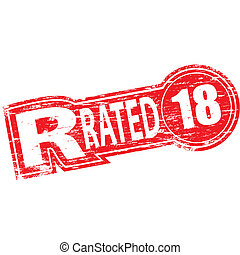 """Rubber stamp illustration showing """"R RATED"""" text and 18 symbol"""