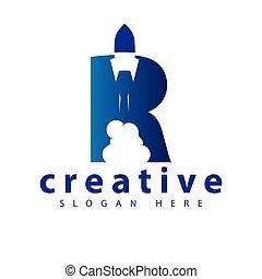 R Rocket logo icon vector template
