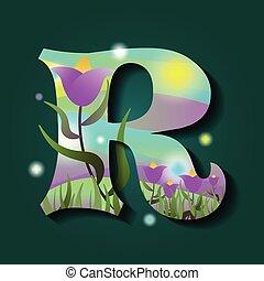 r, style, lettre, printemps