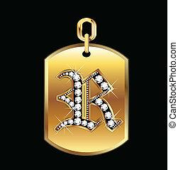 r, vecteur, médaille, or, diamants