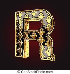 r vector black letter with gold