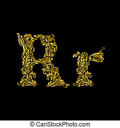 'r', verfraaide, brief