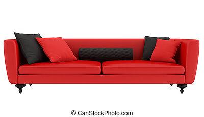 Sofa, fløjl, rød. Fløjl, -digital, sofa, moderne, artwork,... stock ...