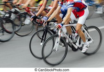 raça bicicleta, lente, movimento, .